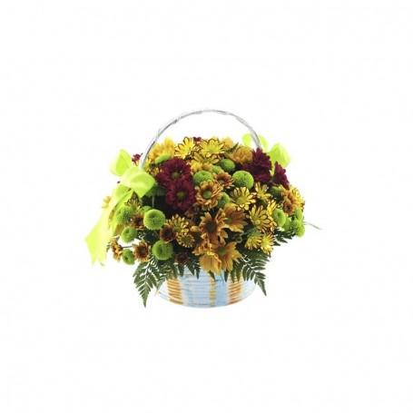 Cesta campestre de flores com margaridas - ALEGRIA