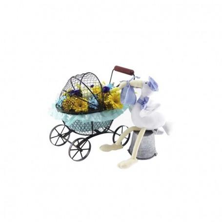 Flores para parabéns pelo nacimento de bebé menino - CARRINHO GUI