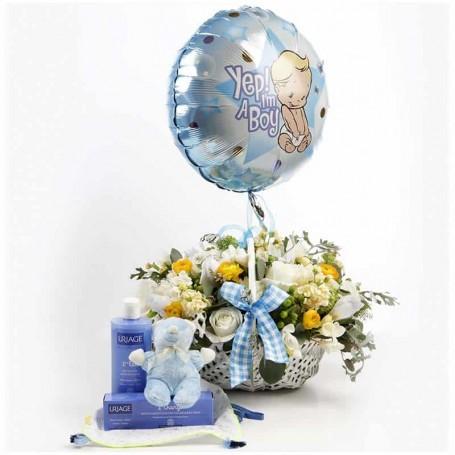 Cesta de flores parabéns pelo nascimento do bebé - Kit Bebé Feliz