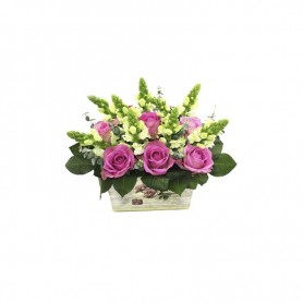 Arranjo de Flores Naturais com Rosas Cor de Rosa - Rosas Mozart