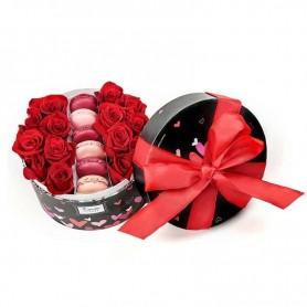 Caixa circular de Rosas Vermelhas com design para dia dos namorados - PARIS