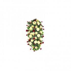 Palma fúnebre de flores com rosas, crisântemos e gypsophila - O