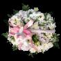 Cesto de Vime Cor de Rosa com Flores Diversas com Peluche - GABRIELA