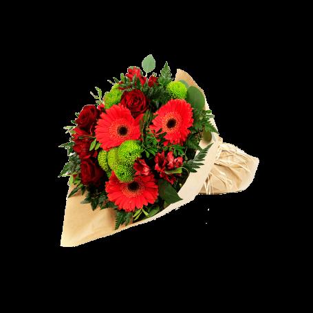 rosas com crisântemos e gerberas faz deste bouquet de flores