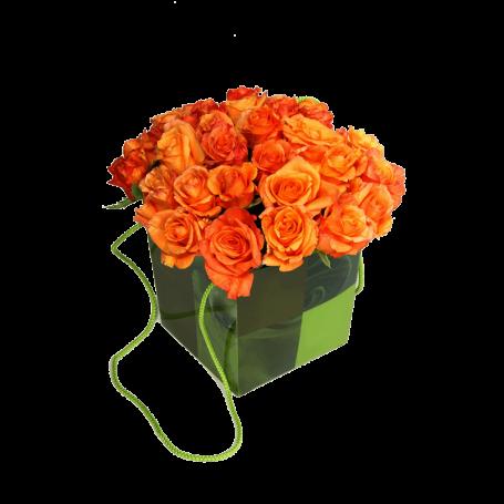 Arranjo com Saco de Rosas Cor de Laranja - LAMBADA