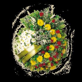 Coroa de Flores para Funeral com Rosas e Margaridas - C