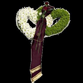 Coração para Funeral com Flores Rosas e Margaridas - DUPLO