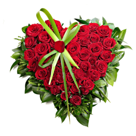 Arranjo de Flores para funeral - Coração de Rosas