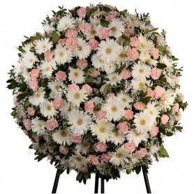 """Coroa Fúnebre com flores em tons Rosa e Branco """"L"""""""