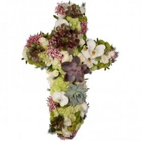 Cruz para Funeral - CRUZ COM SUCULENTAS