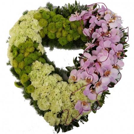 Coração com Flores para Funeral - Orquídeas delicadas